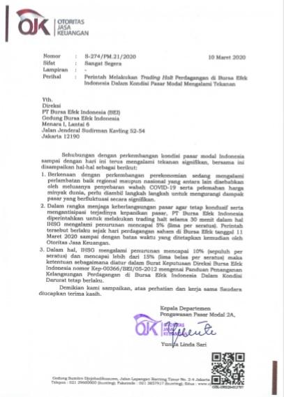 Surat Perintah Trading Halt BEI dari OJK 2020