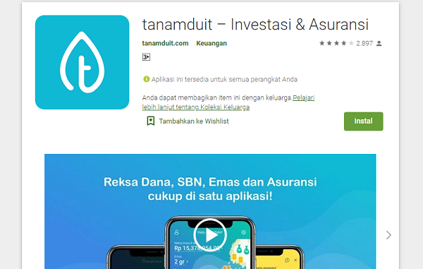 Aplikasi tanamduit milik PT Mercato Digital Asia